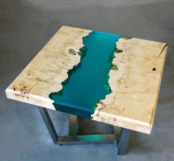 California Maple Coffee Table: Epoxy Resin, Polyurethane Varnish
