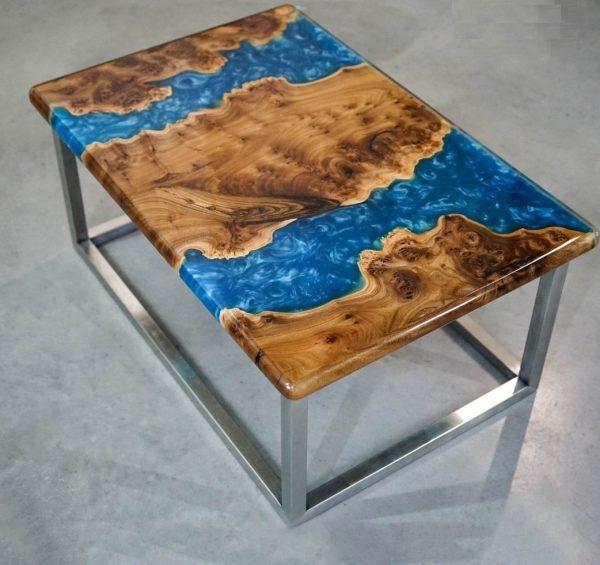 Coffee Table: Elm, Epoxy Resin, Polyurethane Varnish