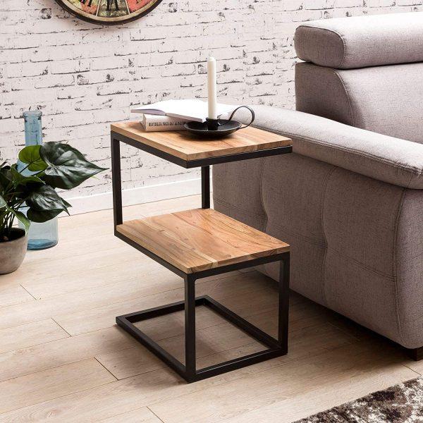C-shape Acacia Solid Wood & Metal Table