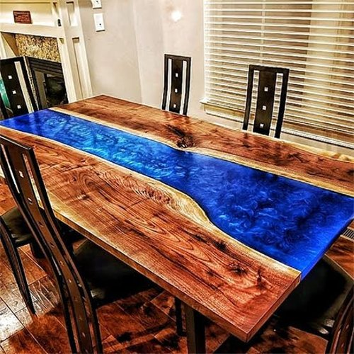 solid wood and epoxy dining table bay area