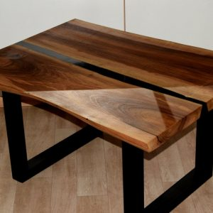 Live Edge Black Epoxy River Dining Table [Collection 2021]