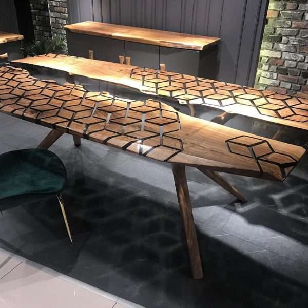 Walnut Wood Epoxy Table
