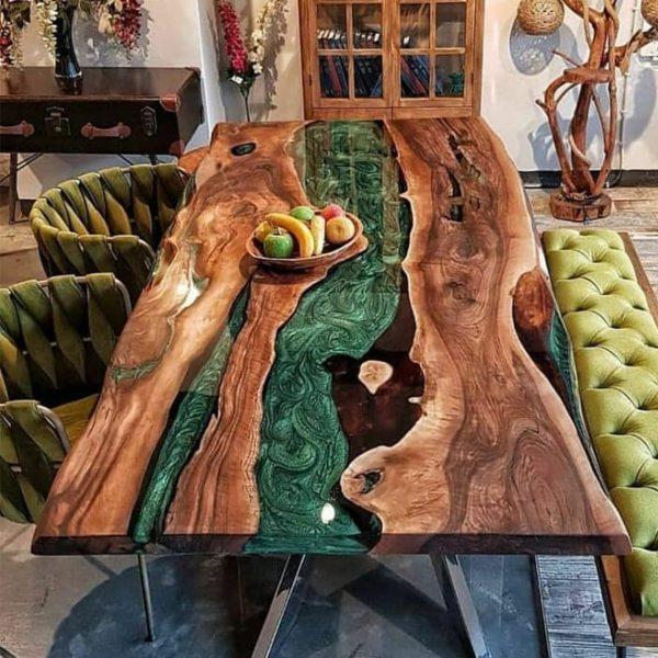 Oak Green Epoxy Dining Table