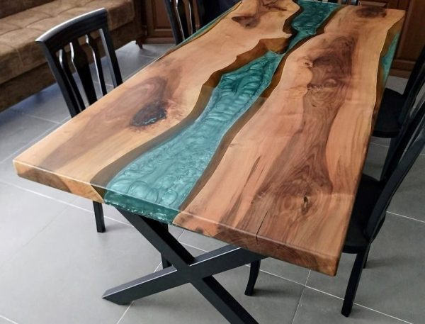 Solid Wood Blue Epoxy River Table