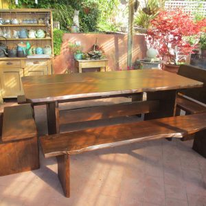 Outdoor Wood Dining Table with Two Bench Set