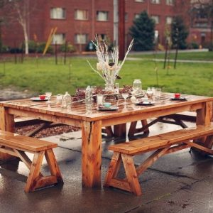 Outdoor Wood Picnic Table with Two Bench Set