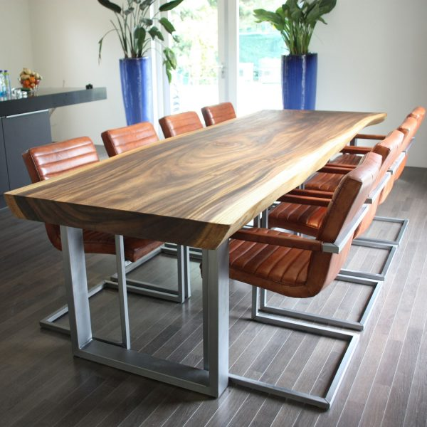Solid Wood and Metal Contemporary Conference Table