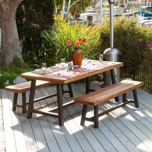 Outdoor Dining Table with Two Bench Set [Bay Area Collection]