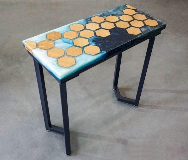 Blue Geometry Oak Console Coffee Table