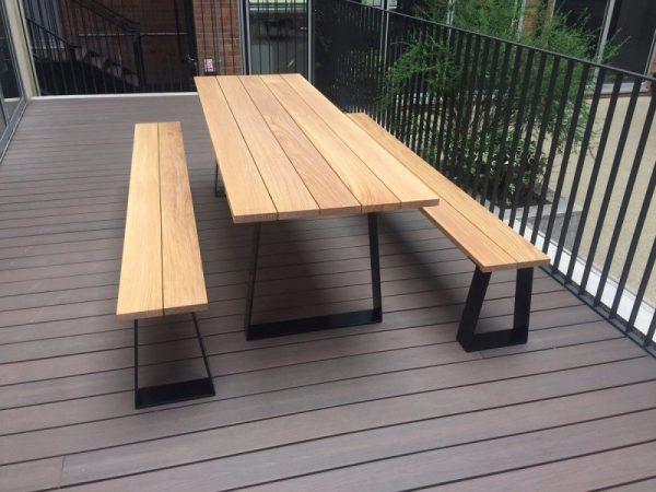 Outdoor Wood Table & Two Benches Set