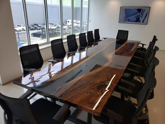 Wood And Epoxy Resin River Conference Table
