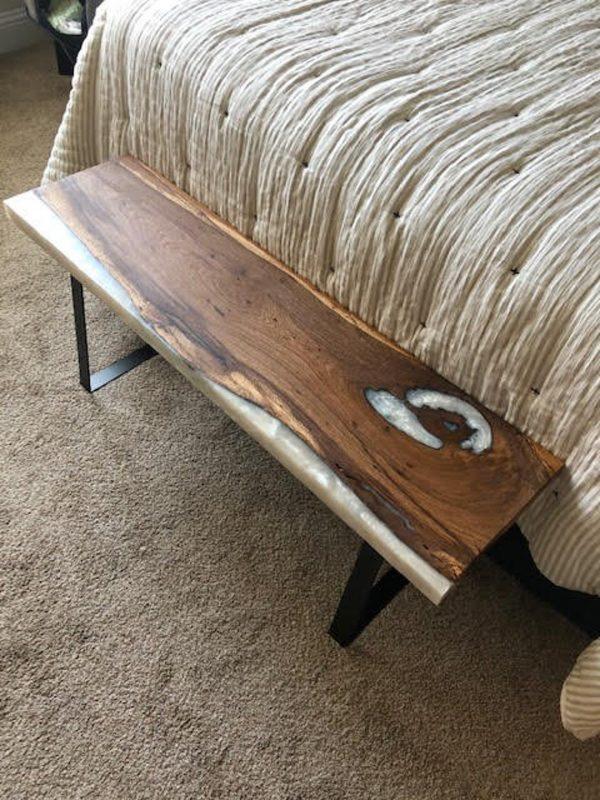 Oak White Epoxy Bench