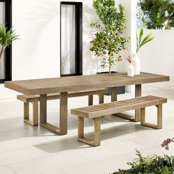 Outdoor Expandable Dining Table & 2 Benches Set