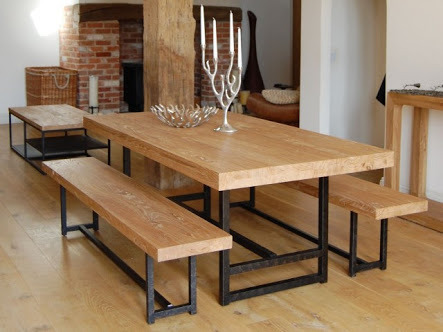 Outdoor Dining Table, Benches Set with Metal Legs