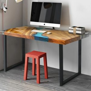 Luxury Solid Wood River Work Table with Metal Legs