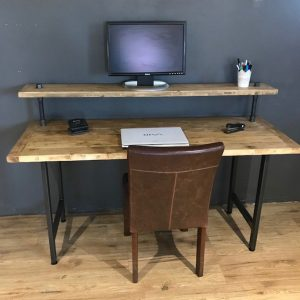 Wood Computer Table with Monitor Stand