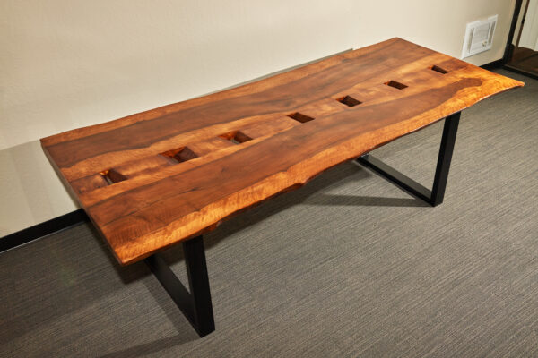 Rustic Conference Dining Table with Holes, Bay Area California